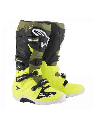 Ботуши TECH 7 YELLOW FLOW MILLITARY GR BLACK ALPINESTARS