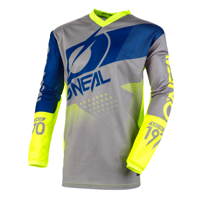 Блуза O'NEAL ELEMENT FACTOR GRAY/BLUE/NEON YELLOW